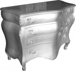 Casa Padrino Barock Kommode Silber B120 H94 cm - Handgefertigte Barock Möbel