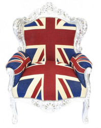 "Casa Padrino Baroque Armchair ""King"" Union Jack / Silber - furniture antique style England flag"