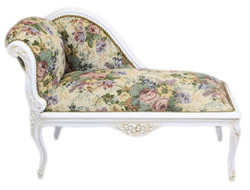 Casa Padrino Baroque Children chaise floral pattern / Antique White - Recamiere Baroque furniture Children bed