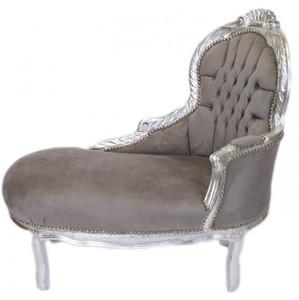 Casa Padrino Barock Kinder Chaiselongue Grau / Silber Mod2 -  Barock Möbel – Bild 1
