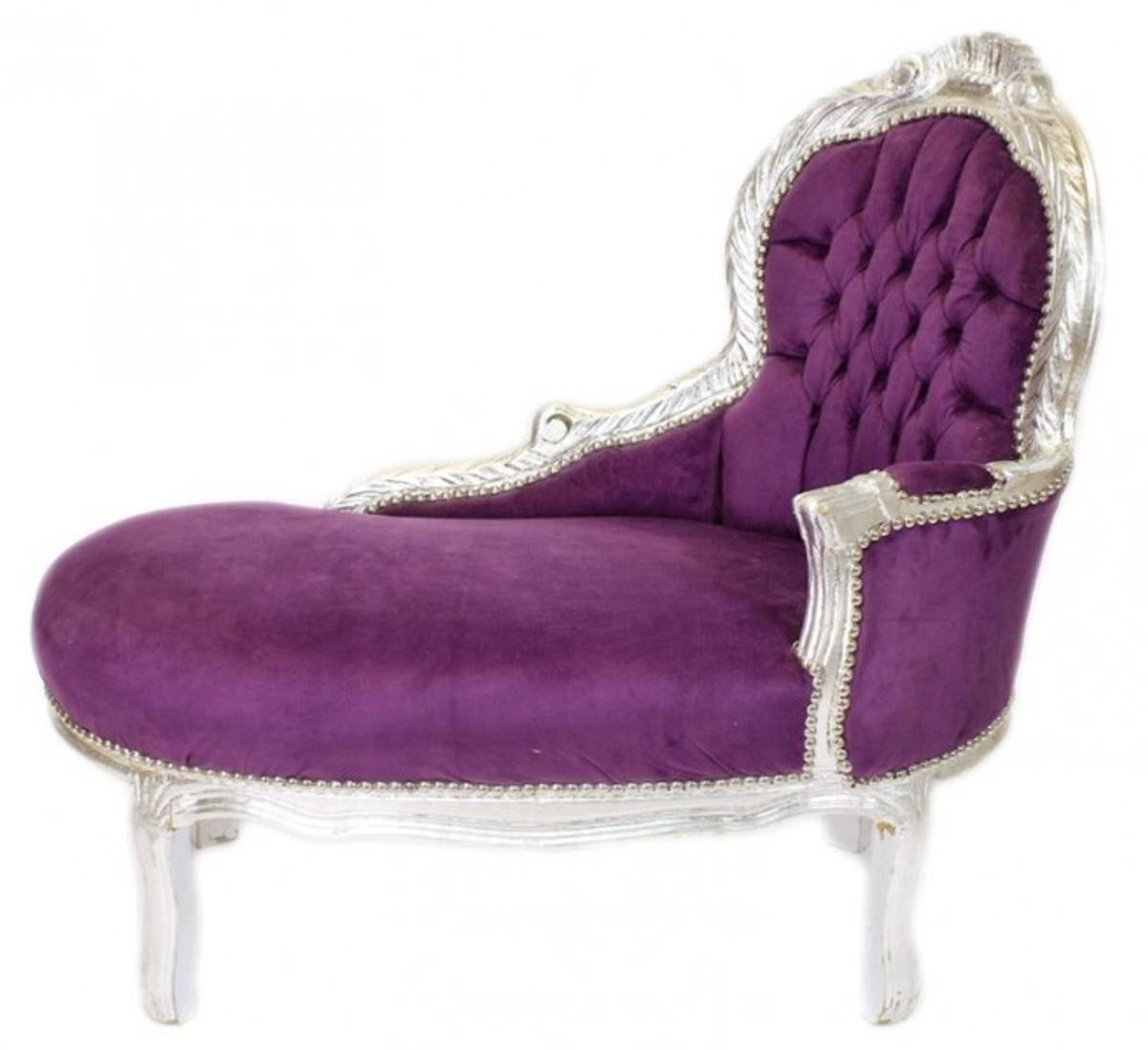 - Casa Padrino Baroque Kids Chaise Lounge Purple / Silver Mod2