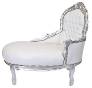 Casa Padrino Baroque Children chaise lounge white leather look / Silver Mod2 - Baroque furniture  sc 1 st  Barockgrosshandel.de : children chaise lounge - Sectionals, Sofas & Couches