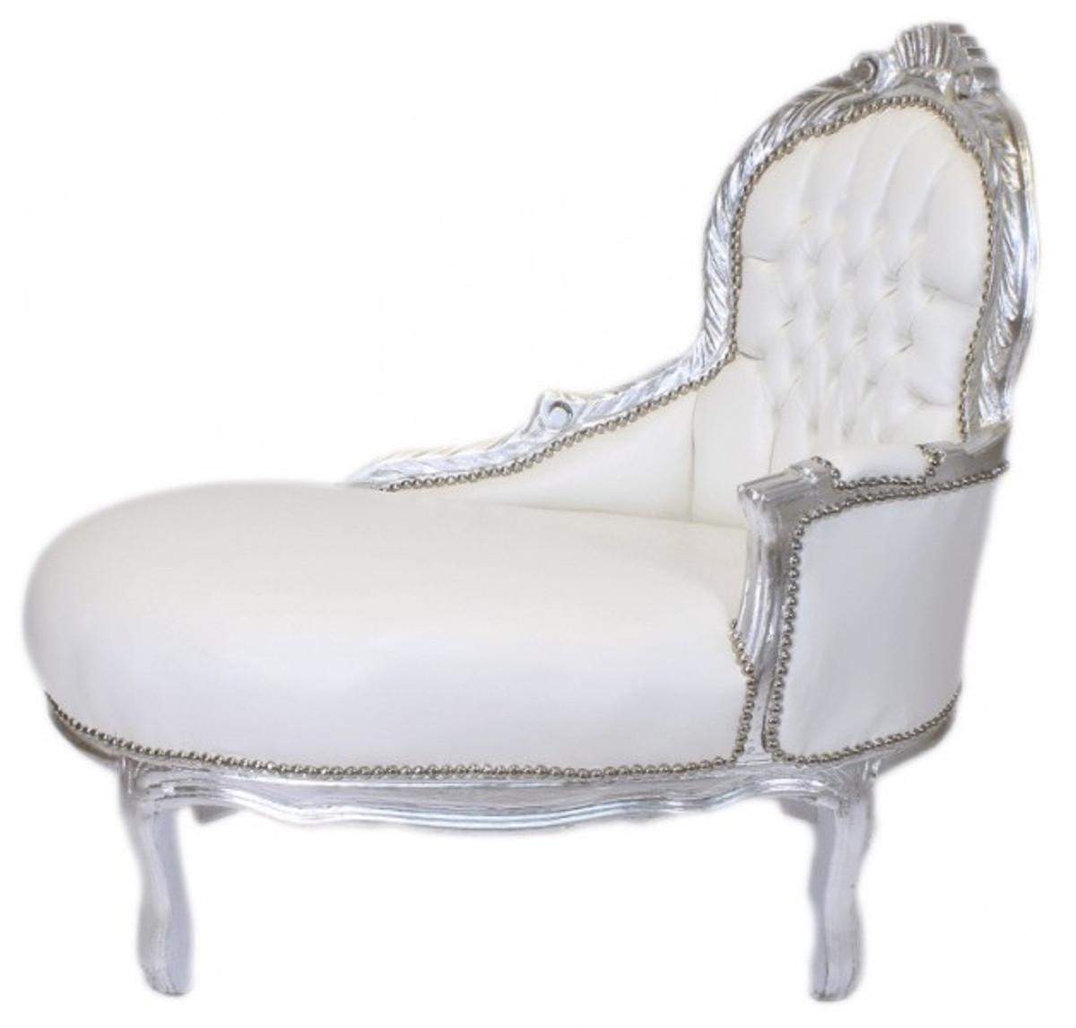 casa padrino barock kinder chaiselongue wei lederoptik silber mod2 barock m bel casa. Black Bedroom Furniture Sets. Home Design Ideas