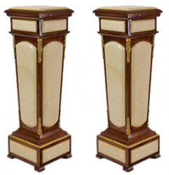 Casa Padrino Baroque columns Set Mahogany / cream with marble top (2 pcs)