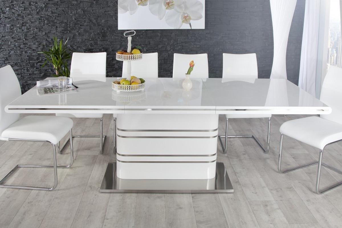 Moderner Yacht Design Esstisch Weiss Hochglanz Ausziehbar 160 220