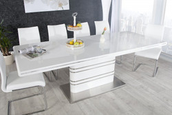 Contemporary Yacht Design table High Gloss White Extendible 160-220 cm of Casa Padrino - dining table