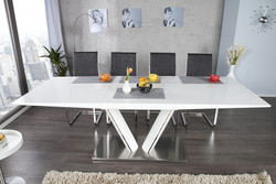 Contemporary Dining Yacht Design White / metal glossy Extensible 160-220 cm of Casa Padrino - dining table