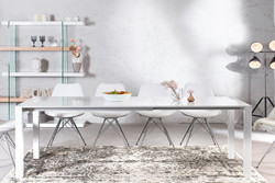 Contemporary Design table high gloss white - Extensible 130-170 - 215 cm of Casa Padrino - dining table