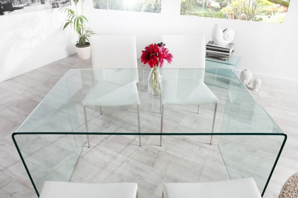 Contemporary Design Dining Table Glass 120 Cm   Ghost Table   Casa Padrino    Dining Table