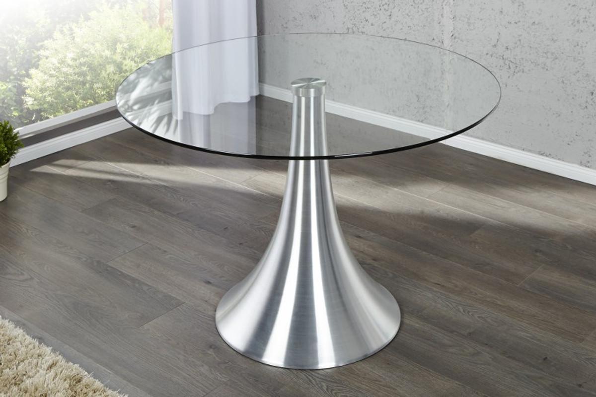 moderner design esstisch glas 110 cm rund mit aluminium fuss von, Esstisch ideennn