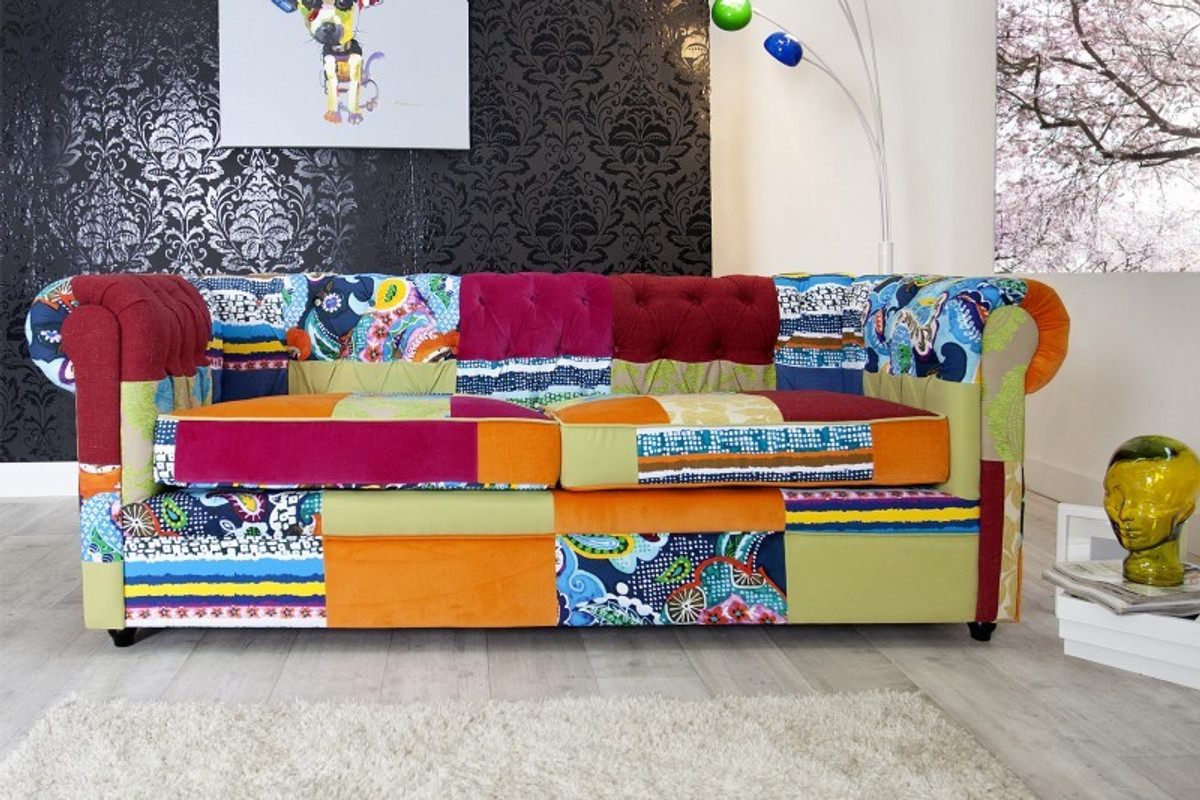 Casa Padrino Chesterfield 3er Sofa Patchwork Bunt Wohnzimmer