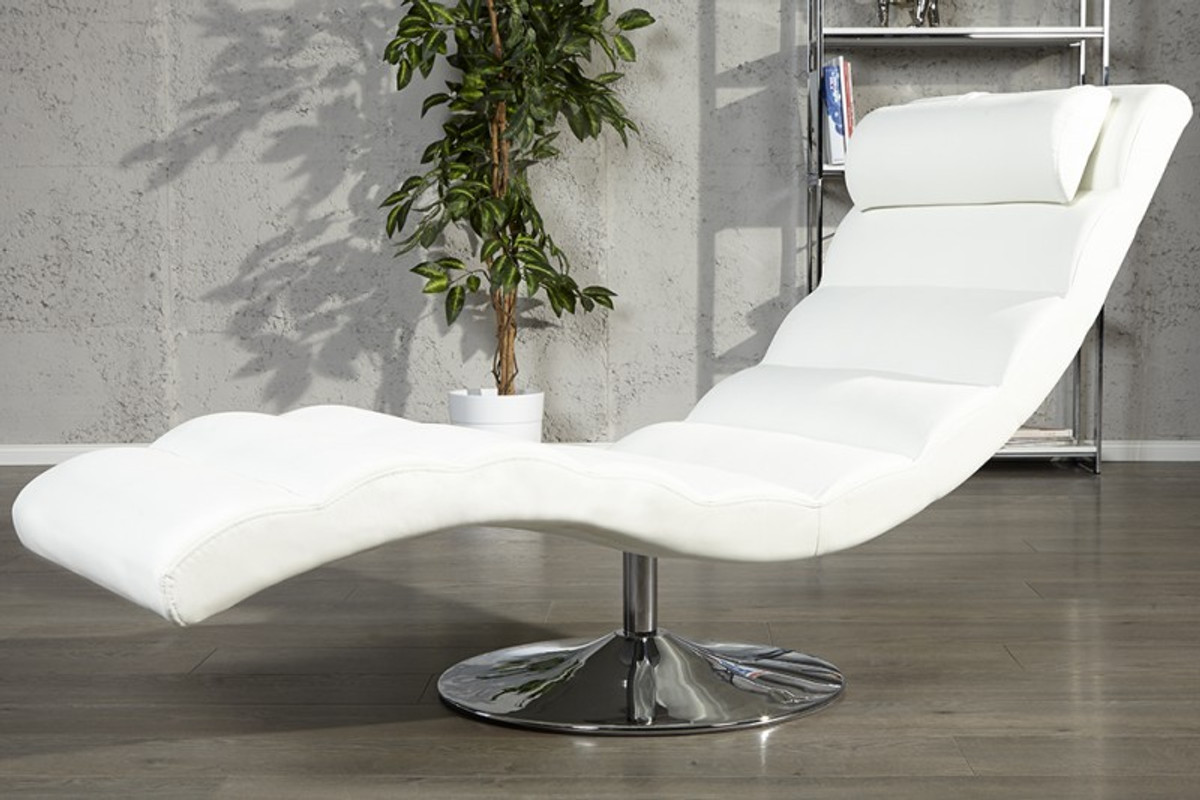 designer liege relax sessel wei chrom von casa padrino. Black Bedroom Furniture Sets. Home Design Ideas