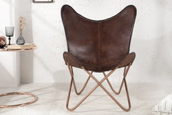 Casa Padrino genuine leather designer armchair Brown - Relax leather armchair