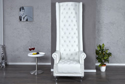 Casa Padrino Chesterfield High Back Sessel Weiss mit Bling Bling Glitzersteinen- Thron König Hochlehn Sessel