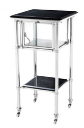 Casa Padrino luxury Bar Trolley trolley stainless steel with glass tray and granite slabs - Luxury Hotel & Restaurant Furniture Side