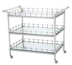 Casa Padrino luxury Bar Trolley Stainless Steel plated - cut glass - Luxury Hotel & Restaurant Furniture Trolley