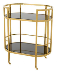 Casa Padrino luxury Bar Trolley Stainless Steel Gold / black glass - Luxury Hotel & Restaurant Furniture