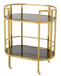 Casa Padrino Luxus Bar Trolley Servierwagen Edelstahl Gold / schwarzes  Glas - Luxus Hotel & Restaurant Einrichtung Möbel