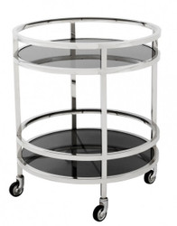 Casa Padrino luxury Bar Trolley trolley round steel plated / black glass - Luxury Hotel & Restaurant Furniture Trolley