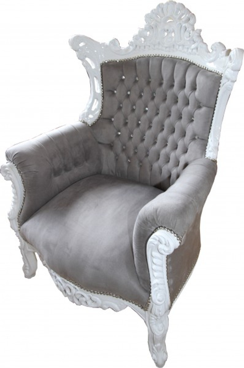 casa padrino barock sessel al capone grau wei mit glitzersteinen sessel barock sessel al capone. Black Bedroom Furniture Sets. Home Design Ideas