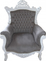 Casa Padrino Baroque armchair Al Capone Grey / White with diamante