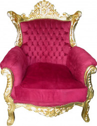 "Casa Padrino Baroque Armchair ""Al Capone"" Mod2 Bordeaux / Gold - furniture antique style"