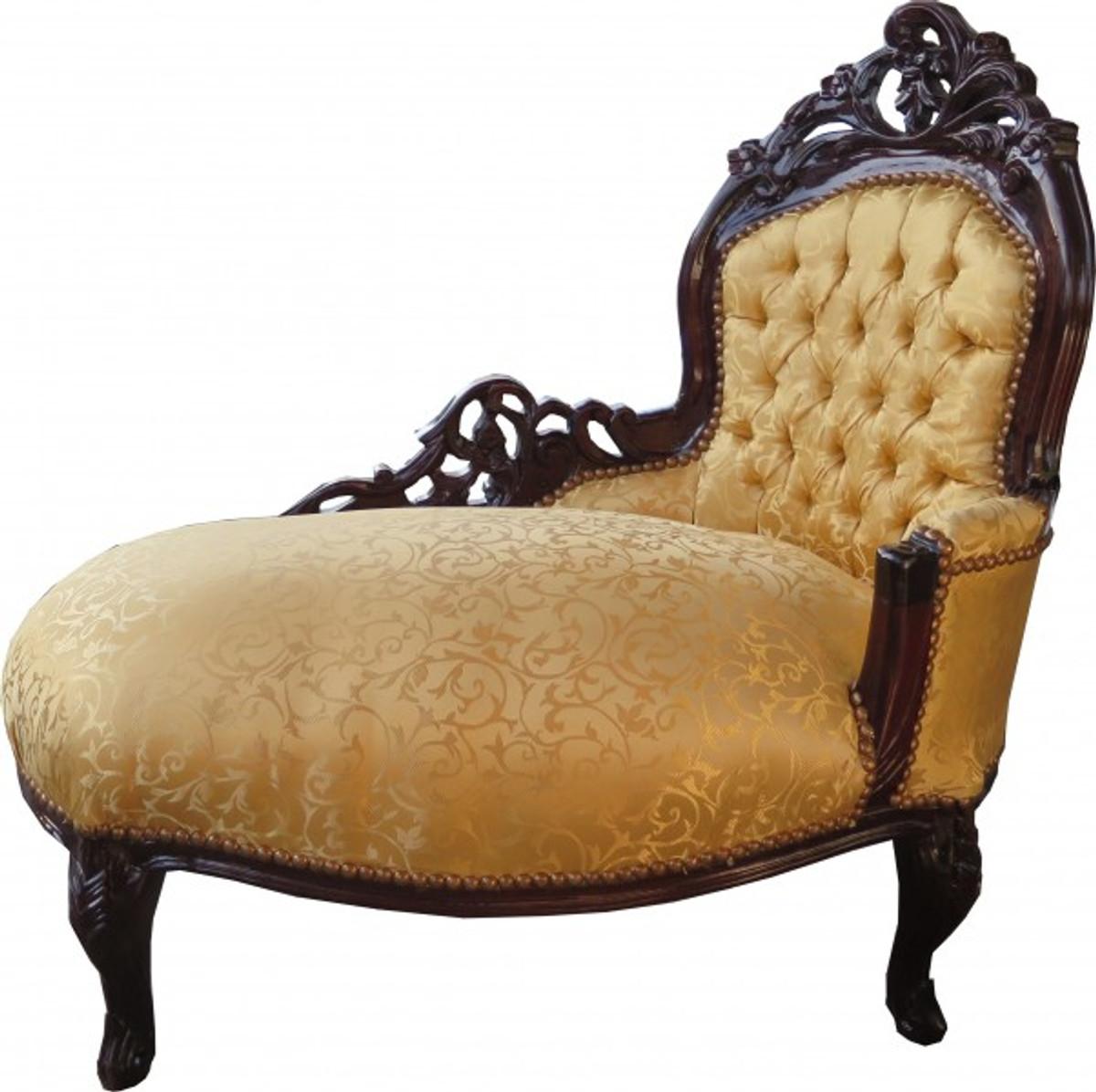Casa Padrino Barock Kinder Chaiselongue Gold Muster / Mahagoni Braun  - Recamiere Kindermöbel 1