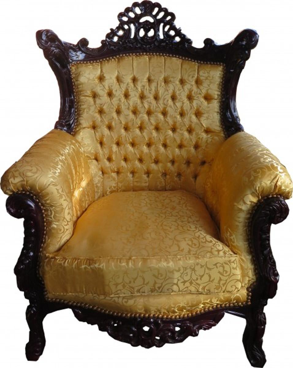 Casa Padrino Barock Sessel Al Capone Gold Muster / Mahagoni Braun   Antik  Stil Wohnzimmer Möbel