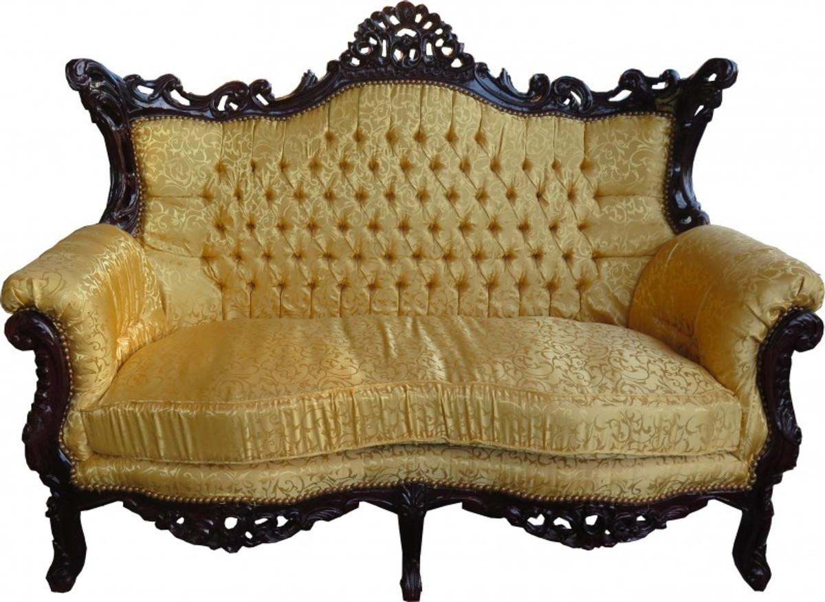 Casa Padrino Barock Sofa Grau Khaki Muster Gold Italienischer Stil