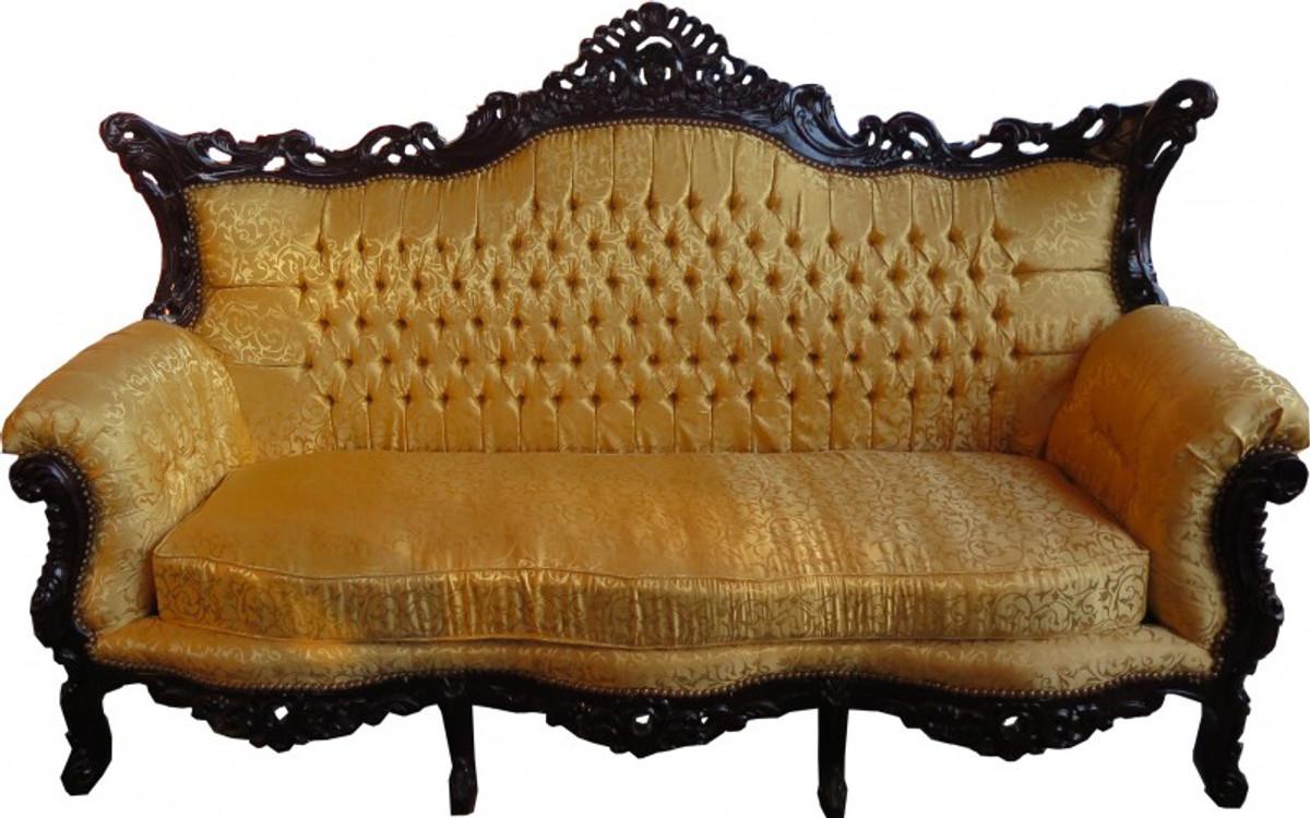 Casa Padrino Barock 3er Sofa Gold Muster / Mahagoni Braun   Wohnzimmer  Möbel Couch Lounge