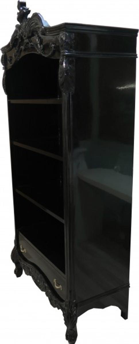 casa padrino barock b cherschrank schwarz silber hochglanz b 85 x h 190 cm b cherregal regal. Black Bedroom Furniture Sets. Home Design Ideas