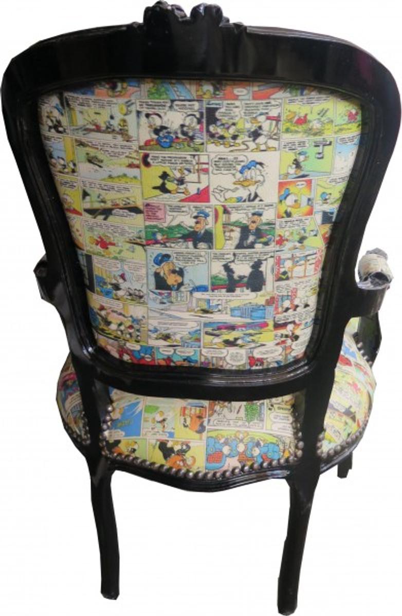 Casa Padrino Baroque Salon Chair Caricatures Black Furniture Antique Comic Style