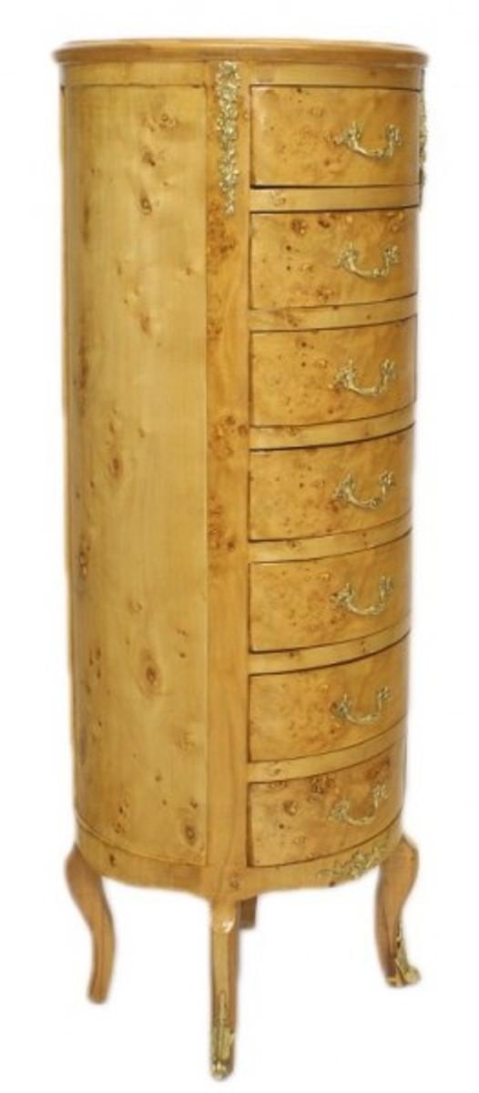 Casa Padrino Barock Kommode Vogelaugen Ahorn / Gold mit 7 Schubladen Rund - Antik Stil 2