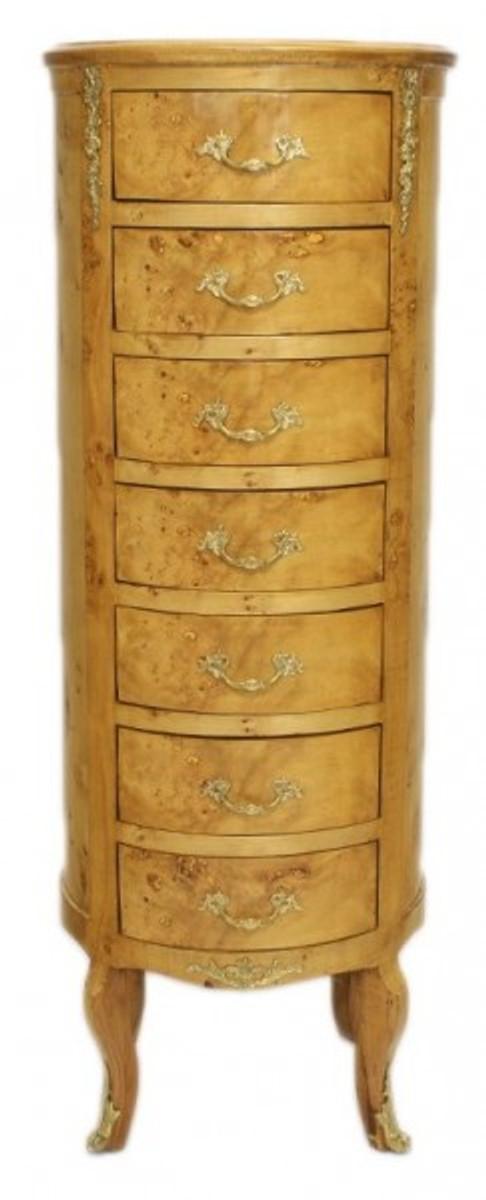 Casa Padrino Barock Kommode Vogelaugen Ahorn / Gold mit 7 Schubladen Rund - Antik Stil 1