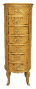 Casa Padrino Baroque chest birdseye maple / gold with 7 drawers round - antique style – Bild 1