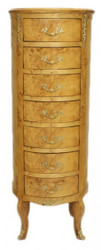 Casa Padrino Baroque chest birdseye maple / gold with 7 drawers round - antique style