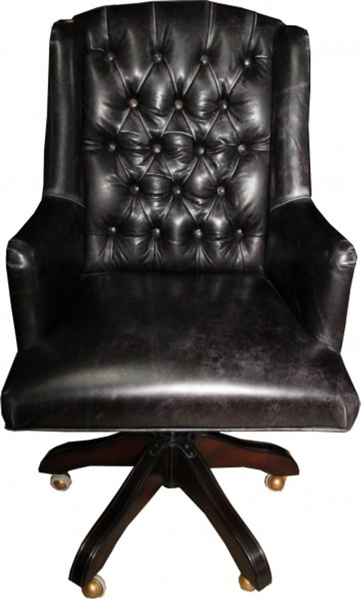 Casa padrino luxus echtleder chefsessel b ro stuhl schwarz for Schreibtisch vintage look