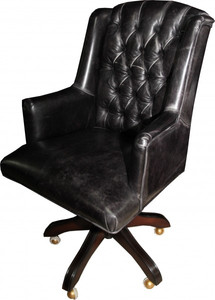 Casa Padrino luxury leather executive chair office chair black vintage look leather swivel desk chair - Head Office