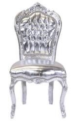 Casa Padrino Barock Esszimmer Stuhl Silber Lederoptik / Silber - Antik Stil Möbel