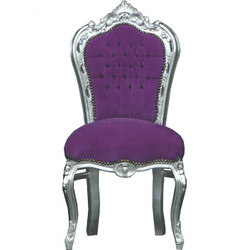 Casa Padrino Baroque Dinner Chair Purple/Silver - furniture antique style