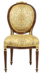 Casa Padrino luxury Baroque Dinner Chair Louis XIV Gold Pattern / Mahagonibraun - Furniture