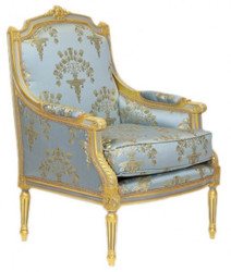 Casa Padrino Baroque Lounge throne Empire Blue-Grey Gold Pattern / Gold - armchair - armchair Tron chair