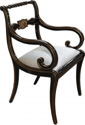 Casa Padrino luxury Baroque chair with armrests Black / Gold / Cream - Luxury desk chair
