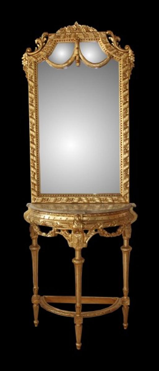 casa padrino barock spiegelkonsole in gold mit marmorplatte mod4 antik look spiegel barock. Black Bedroom Furniture Sets. Home Design Ideas