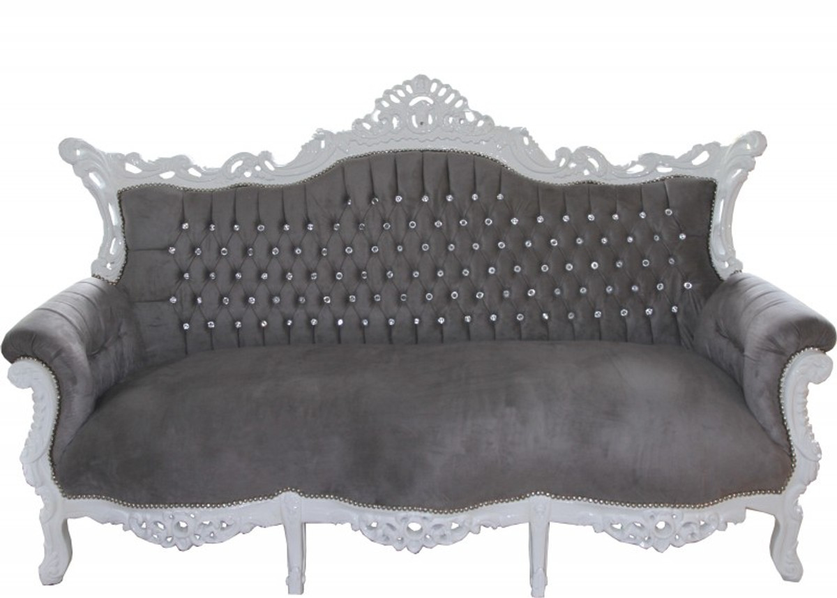 casa padrino barock 3 er sofa master grau wei mit bling bling glitzersteinen wohnzimmer. Black Bedroom Furniture Sets. Home Design Ideas