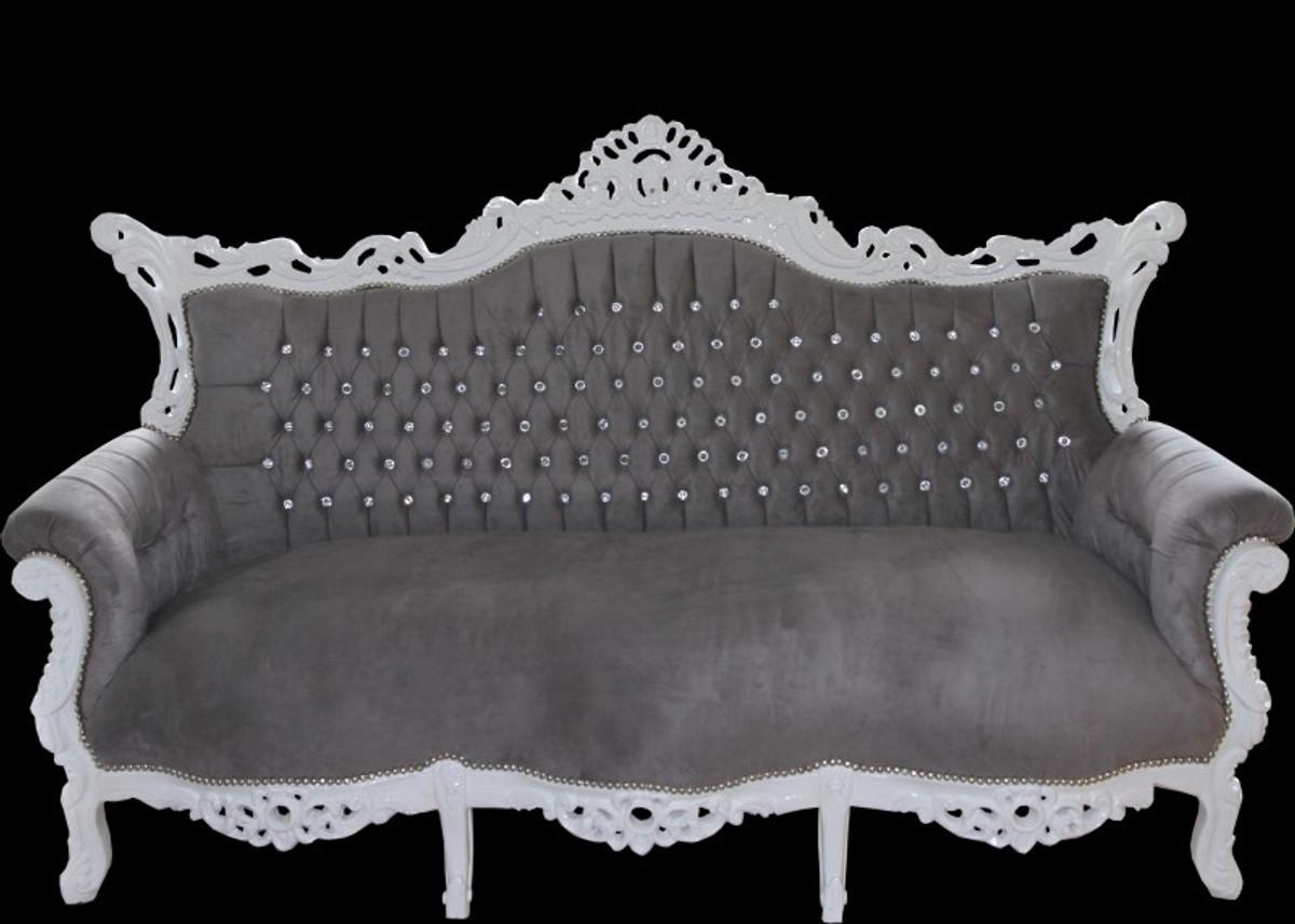 Casa Padrino Barock 3-er Sofa Master Grau / Weiß mit Bling Bling Glitzersteinen - Wohnzimmer Möbel Couch Lounge 2