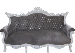 Casa Padrino Baroque 3 seater Master Grey / White with Bling Bling diamante  - Living room furniture Coffee Lounge