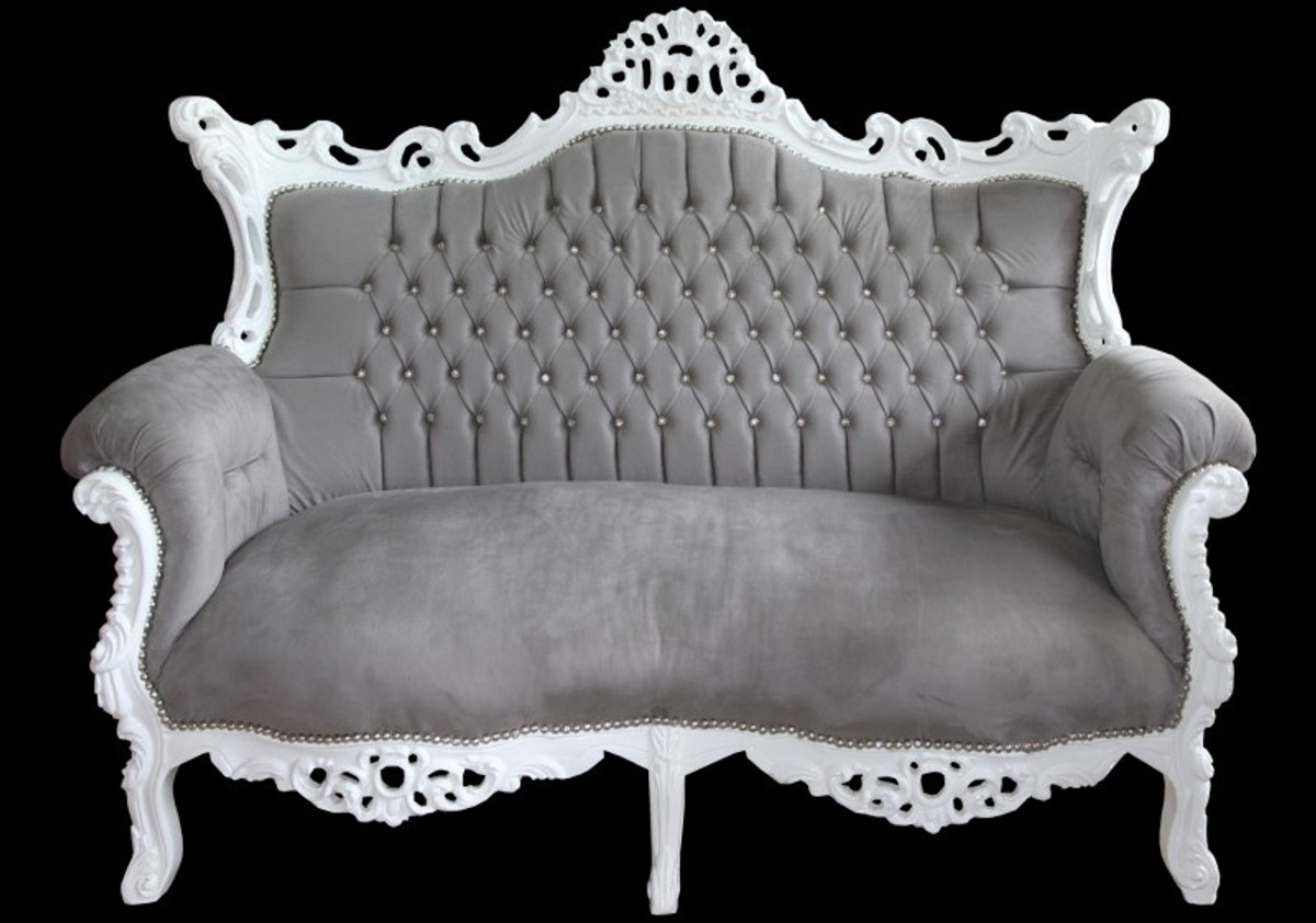 casa padrino baroque 2 seater sofa master grey white with bling bling diamante antique style. Black Bedroom Furniture Sets. Home Design Ideas