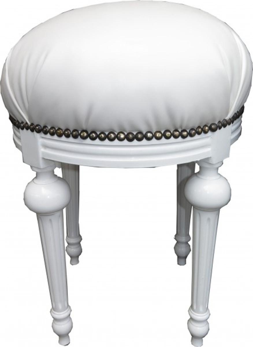 casa padrino barock sitzhocker rundhocker wei lederoptik wei barock hocker m bel hocker. Black Bedroom Furniture Sets. Home Design Ideas