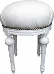 Casa Padrino Baroque Stool - round stool white leather look / white - Baroque furniture Stool